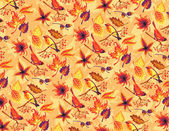 Seamless autumn pattern with birds and leaves. — Vector de stock
