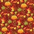 Seamless autumn pattern with pumpkin and leaves. — Vector de stock