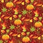 patrones de otoño sin fisuras con calabaza y hojas — Vector de stock