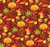 Seamless autumn pattern with pumpkin and leaves. — Stockvektor