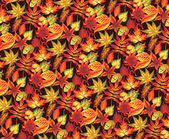 Seamless autumn pattern with leaves. — Vector de stock