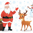 Santa, a deer and a snowman isolated on white. — Stock Vector