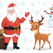 Santa, a deer and a snowman isolated on white. — Imagen vectorial