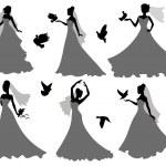 Bride and birds. — Stock Vector #39067845