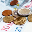 Money euro coins and banknotes background — Stock Photo #14003618