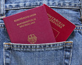 German and Russian passports in back pocket of jeans — Stock Photo