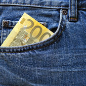 200 euro note in jeans pocket — Stock Photo