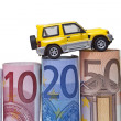 Stock Photo: Euro bills & car isolated
