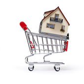 Model of the house in shopping cart — Stock Photo