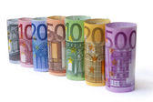 Rolled up Euro bills — Stock Photo