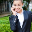 Stylish woman talking on her mobile — Stock Photo