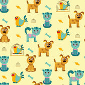 Vector cartoon seamless pattern with cats, dogs and birds — Stock Vector