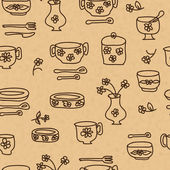 Icons of kitchen ware and utensils — Stock Vector