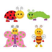 Cute cartoon insect set — Vector de stock