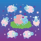 The sheep sleeps — Stock Vector