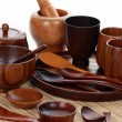 Wood craft (cups, bowl, spoons, scoops) — Stok fotoğraf