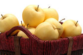 Close view of some tasty yellow apples — Stock Photo