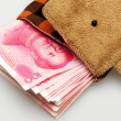 Wallet and RMB 100 - Stock Photo