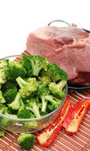 Raw meat and fresh vegetables — Stock Photo