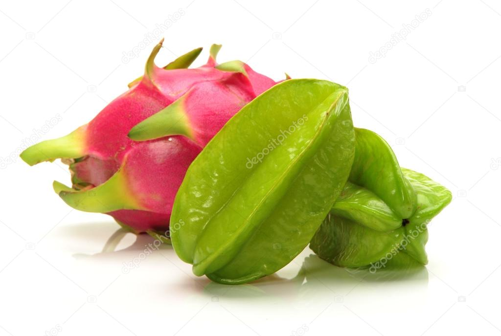 Fresh green starfruit and dragon Fruit on a white background  — Stock Photo #15678343