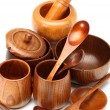 Many wooden tableware in China - Stock Photo
