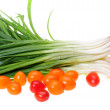 Spring onions and cherry tomato — Stock Photo