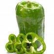 Fresh green bell pepper slice (capsicum) on a white background — Stock Photo