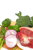Fresh meat and Vegetables on white background — Stock Photo