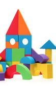 Il castello di giocattolo da blocchi di colore — Foto Stock