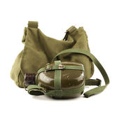 People's Liberation Army military kettle. Military backpack on white background — Stock Photo