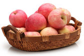 Apples in a basket on a white background. — Foto de Stock