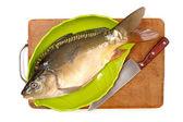 Raw fish carp on white background — Stock Photo