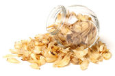 Dried lily bulbs, traditional chinese herbal medicine on white background — Stock Photo