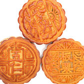 Mid-Autumn Festival moon cake on white background — Stock Photo