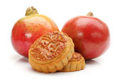 Pomegranate and Moon cake on white background — Foto de Stock