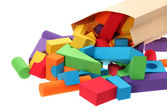 The toy castle from color blocks isolated on a white background — Stock Photo