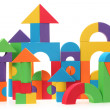 Stock Photo: The toy castle from color blocks isolated on a white background