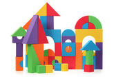 The toy castle from color blocks isolated on a white background — Стоковое фото