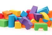 Leksak slottet från färgblock isolerad på en vit bakgrund — Stockfoto
