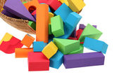The toy castle from color blocks isolated on a white background — Stockfoto