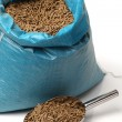 Bag of rabbit feed on white background — Stock Photo