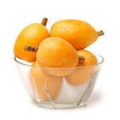 Close up view of some loquat fruit isolated on a white background — Stock Photo