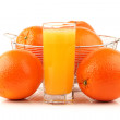 Orange juice in glass and orange — Stock Photo