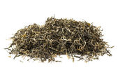 Tea heap leaves on white background — Stock Photo