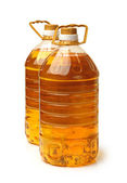Bottle oil plastic big on white background — Stock Photo
