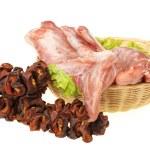 Fresh raw pork on white background — Stock Photo
