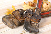 Old Vintage red handled plumbers pipe wrench — Stock Photo