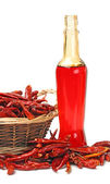 A bottle of chili oil — Stock Photo