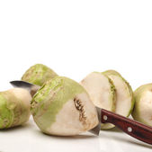 Cutted with knife Kohlrabi isolated on white background — Stock Photo