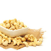 Heap of Cashew on white background — Stock Photo